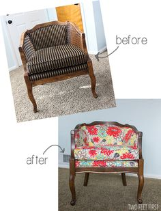 diy barrel Chair - replaced cane and added fabric
