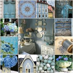 Romantic Homes has put together some sweet blue vignett. Collages, Love Blue, Blue And White, Blue Yellow, Pot Pourri, Color Collage, Beautiful Collage, All Nature, Romantic Homes