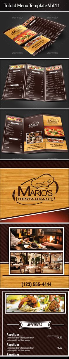 "Trifold Menu Template by Mograsol ""Trifold Menu Template Contents: – 2 Labeled .txt file The PSD files are setup b Flyer Design Inspiration, Food Menu Template, Menu Templates, Marios Restaurant, Take Out Menu, Menu Layout, Menu Printing, Restaurant Menu Design, Vintage Menu"
