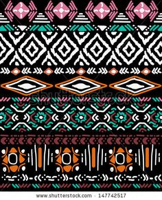 seamless vector ornament on black background native american style by iriselmo via shutterstock - Ethno Muster