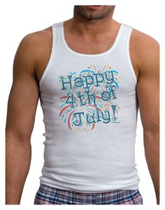 TooLoud Happy 4th of July - Fireworks Design Mens Ribbed Tank Top