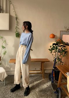 Confection Obsession 8 Colors Knit Top - I know you wanna kiss me. Thank you for visiting CHUU. Mode Outfits, Korean Outfits, Retro Outfits, Loose Pants Outfit, Plazzo Pants Outfit, Fashion Pants, Look Fashion, Korean Street Fashion, Korean Spring Fashion