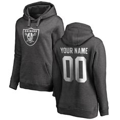Oakland Raiders NFL Pro Line by Fanatics Branded Women's Personalized One Color Pullover Hoodie - Ash - $69.99