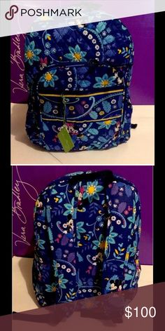 """VERA BRADLEYDISNEY COLLCTION CAMPUS BACKPACK Brand new, 100% authentic! Color: dreaming mickey. Dimensions: 16'' H x 13'' W x 6'' D with 2 ¾"""" handle drop and 28 ½"""" adjustable shoulder straps with quilted exterior. Two main compartments with double zip closure. Exterior zip pocket ID pocket, phone pocket, accessory pocket, and 2 penholders in large compartment. Tp carrying handle, 2 adjustable shoulder straps, 2 side pockets with elastic tops and Vera Bradley signature zip pulls. NO…"""