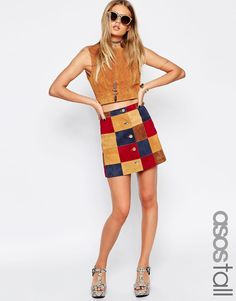 ASOS TALL A-Line Skirt With Patchwork Suede With Button Through