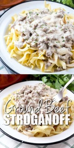 This is best Ground Beef Stroganoff. It's a flavor-filled creamy hamburger gravy… This is best Ground Beef Stroganoff. It's a flavor-filled creamy hamburger gravy that is best served over egg noodles. Budget friendly and family friendly! Crock Pot Recipes, Pasta Recipes, Soup Recipes, Healthy Recipes, Healthy Soup, Recipes With Egg Noodles, Egg Noodle Recipes, Healthy Chicken, Quick Food Recipes