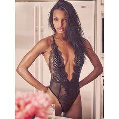 Victoria's Secret Limited Edition Fishnet & Lace Teddy (€61) via Polyvore featuring intimates, black and victoria's secret
