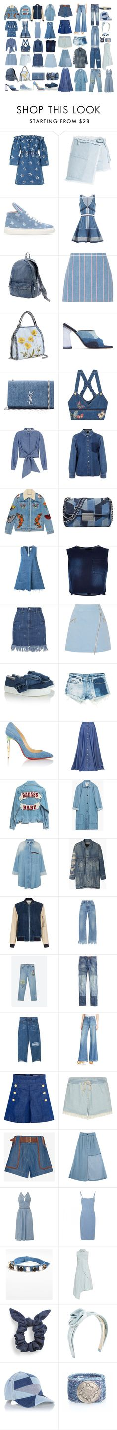 """""""Denim Everything"""" by blaspheme ❤ liked on Polyvore featuring House of Holland, Sandy Liang, Minna Parikka, Dsquared2, Issey Miyake, T By Alexander Wang, STELLA McCARTNEY, Amélie Pichard, Yves Saint Laurent and Valentino"""