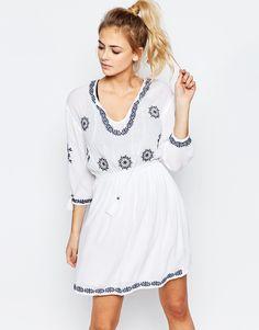 Boohoo+Embroidered+Tassel+Dress