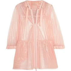 REDValentino Coated point d'esprit hooded jacket ($250) ❤ liked on Polyvore featuring outerwear, jackets, blush, pink jacket, pink zip jacket, zip jacket, hooded jacket and zipper jacket