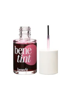 Benetint cheek and lip tint by Benefit. Featuring a lightweight rose-tinted formula, the liquid stain adds a rosy hint of colour to cheeks and lips that lasts for hours. To apply draw three small stripes across the apple of your cheek and blend in a circular motion with fingertips.