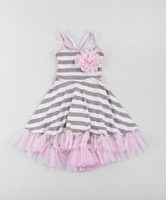 Pink & Gray Stripe Tulle Dress - Toddler & Girls #zulily #zulilyfinds
