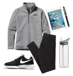 """""""//test day//"""" by maggievjones ❤ liked on Polyvore featuring CamelBak, Patagonia, American Eagle Outfitters, NIKE, Sheaffer, women's clothing, women, female, woman and misses"""