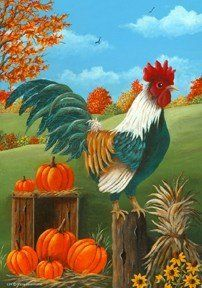 Fall Harvest Country Rooster Farm Pumpkin House Flag 28 x 40 by Custom Decor. $13.89. fade resistant. Permanently dyed. Measures 28 x 40. Polyester. New for 2012. Roosters Roost Flag designed by Dottie Herrmann for Custom Decor. The flag features a proud Rooster. The beautiful Country setting features pumpkins, bundled corn and colorful trees with leaves turning colors in the background. Custom Decor takes original artwork and reproduces it on 300 denier polyester...