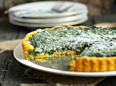 Skinny Spinach Tart with a Squash Crust