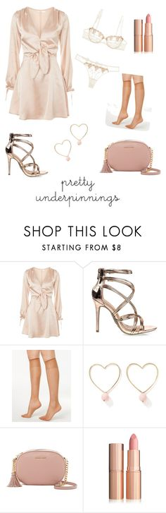 """""""A Lady in The Streets"""" by lexisizzle ❤ liked on Polyvore featuring Oh My Love, Chantal Thomass, Anne Michelle, Hanes, Ana Accessories and MICHAEL Michael Kors"""