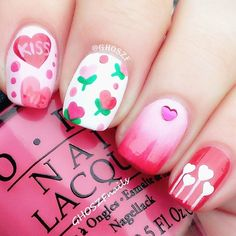 22 Beautiful Valentine Nail Designs to Symbolize Love - Be Modish Fabulous Nails, Gorgeous Nails, Love Nails, Pretty Nails, Fun Nails, Valentine Nail Art, Holiday Nail Art, Valentines, Crazy Nail Art