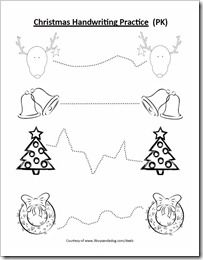 free christmas handwriting and coloring page for preschool - Free Printable Holiday Worksheets