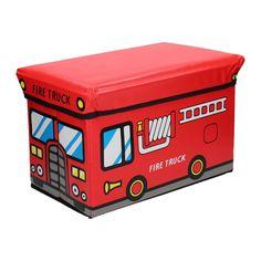 Deze brandweerwagen blust niet alleen branden, hij heeft ook ruimte voor je speelgoed. En als je klaar bent met het opruimen van je speelgoed doe je de poef dicht en gebruik je hem op om te zitten. Afmeting: 40 x 25 x 25 cm. - Opvouwbare Poef - Brandweerwagen