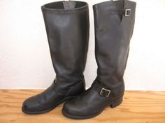 Vtg-Mens-Georgia-Size-11E-Tall-Engineer-Motorcycle-Riding-Boots-Black-Leather
