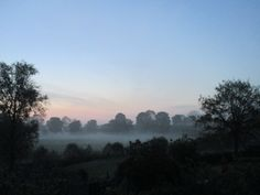A view from the bedroom window of the Shropshire (UK) home of Anthony Sargeant. Taken at 4.30 am on the morning of the 27th May 2016 when the sun had not yet risen above the horizon and the mists still clung to the water meadows that surround the...