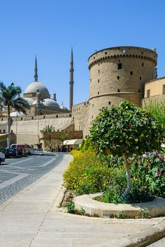 The Mosque of Mohammed Ali or the Alabaster Mosque with the tower of the Citadel in Cairo, Egypt.