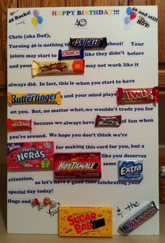 23 ideas gifts for dad birthday candy bars Birthday Candy, 40th Birthday Parties, 80th Birthday, Birthday Quotes, Birthday Recipes, 50th Birthday Gifts For Men, Birthday Posters, Happy Birthday, Homemade Birthday