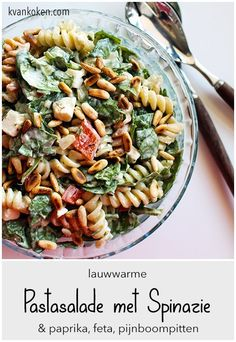 Lauwwarme pastasalade met spinazie en feta - The K of Cooking Good Healthy Recipes, Veggie Recipes, Lunch Recipes, Baby Food Recipes, Pasta Recipes, Vegetarian Recipes, Cooking Recipes, I Love Food, Good Food