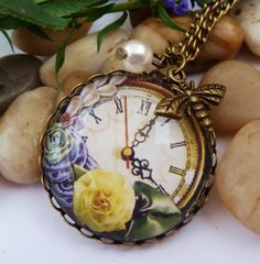 Motif charm necklace with clock, steampunk necklace, flowers, shell core pearl, bee