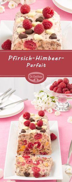 Pfirsich-Himbeer-Parfait: Eine cremig-fruchtige Erfrischung ist dieses Pfirsich-Himbeereis #parfait #himbeer #pfirsich