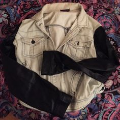 Material Girl Jean/leather jacket In great condition! Light denim jacket with leather sleeves. Material Girl Jackets & Coats