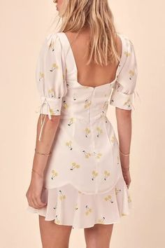 Women White Cherry Print Square Neck Puff Sleeve Tied Ruffles Sexy Dress - S Source by Dresses Cheap Dresses, Sexy Dresses, Short Dresses, Fashion Dresses, Dresses With Sleeves, Prom Dresses, Frock Design, Casual Summer Dresses, Casual Dresses For Women