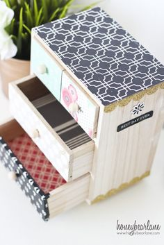 Super cute Mini Chest of Drawers using the Home+Made line of papers. LOVE this!