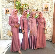 Simple Bridesmaid Dresses, Bridesmaid Outfit, Bridesmaid Makeup, Ootd Hijab, Hijab Outfit, Wedding Hijab, Wedding Dresses, Hijab Style Dress, Kebaya