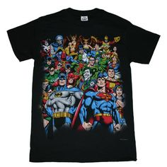 Amazon.com: DC COMICS GROUP SHOT POP ART ADULT BLACK LICENSED MENS S/S TEE (Small): Clothing