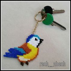 Bird keyring Hama mini beads by renk__ahenk