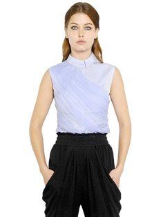 Vionnet silk tulle and cotton poplin shirt