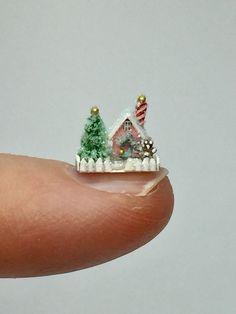 OOAK Miniature Dollhouse Christmas Cottage Micro Putz Gingerbread House  | eBay