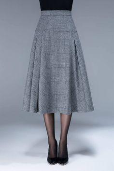 Falda de tartán falda de lana falda de cintura alta falda  2366cf478db4