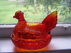 Image detail for -VINTAGE RUBY RED DEPRESSION GLASS HEN CHICKEN ON NEST CANDY DISH ...