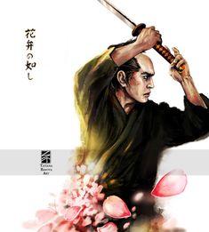 Sword Sakura Katana Bushido Samurai Interior Art Print Painting Home Decor Kendo, Katana, Samurai Art, Artist Signatures, Pigment Ink, Paper Texture, My Arts, Etsy, Art Prints