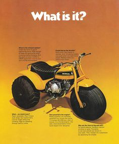 The billion-dollar ATV industry can be traced back to Honda's Honda Trike, Honda S, Trike Bicycle, Classic Honda Motorcycles, Vintage Motorcycles, Mini Bike, Mini Motorbike, Womens Motorcycle Helmets, Motorcycle Girls