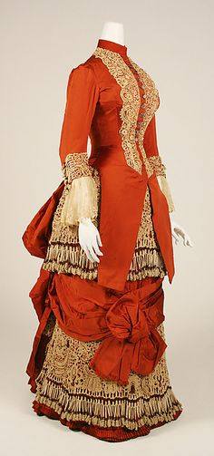 Dress  Date: ca. 1880 Culture: American Medium: silk, cotton, glass Dimensions: Length at CB (a): 32 in. Length at CB (b): 39 in.  Accession Number: 1982.219.2a, b For more views, see other pins.
