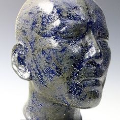 Takahiro Kondo: Blue Head ~ Porcelain with gold and silver mist over-glaze Silver Mist, Air Fire, Art Pieces, Skull, Pottery, Clay, Ceramics, Sculpture, Contemporary