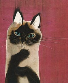 Cat Illustration by Mirko Hanák, (Czech Republik, b. 1921)