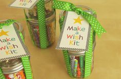 Make a Wish kits - mason jar with birthday candles and one with matches and a super cute printable label | Nora Griffin