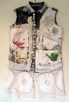 Altered Assortment of VINTAGE Linens Scraps FABRIC Folk ART Wearable Collage Clothing Antique Textile Cloth Fiber MyBonny