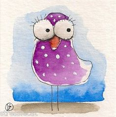 Where did they all go... purple whimsical bird