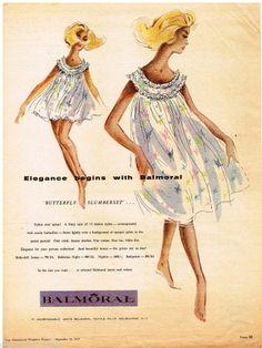 BALMORAL LINGERIE AD RETRO Vintage Advertising  1959
