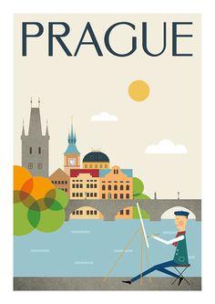 Ciudad de Praga impresión mediados de siglo por TomasDesign en Etsy